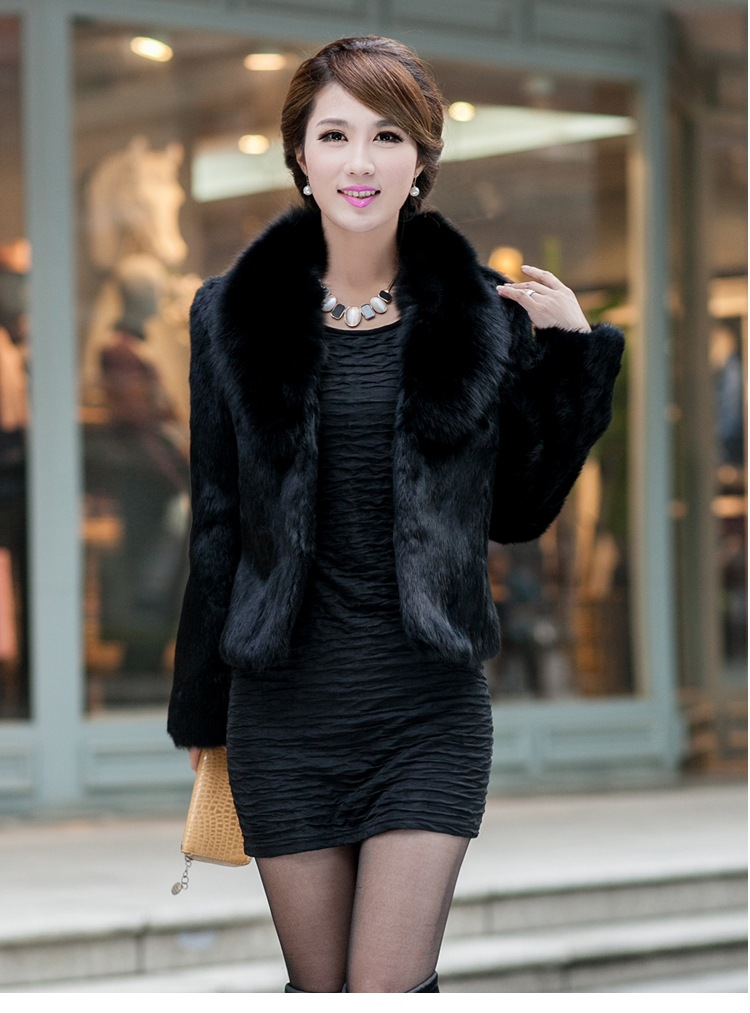 Black/White Womens Winter Autumn Short Section Faux Fur Jackets Man-Made Rabbit Fur Collar Casual Fur Coats Casaco Feminino K300
