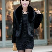 Черные/белые женские зимние осенние короткие куртки из искусственного меха с искусственным кроличьим меховым воротником повседневные меховые пальто Casaco Feminino K300