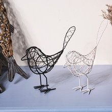 Home Decorations Art Work Nordic Modernity Iron Art Cartoon Animal Iron Wire Bird Furnishings Decoration Gift Black White(China)