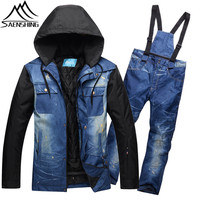 SAENSHING Winter Ski Suit Men Mountain Skiing Suit Waterproof Thicken Warm Ski Jacket Snowboard Pants Outdoor