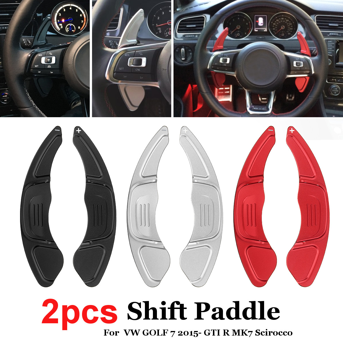 Pair Car Aluminum Steering Wheel Shift Paddle Shift for Volkswagen VW GOLF 7 2015- GTI R MK7 Scirocco Car Styling 4pcs car styling r logo car wheel tire valves caps for vw volkswagen scirocco cc golf 7 golf 6 mk6 polo gti tiguan accessories