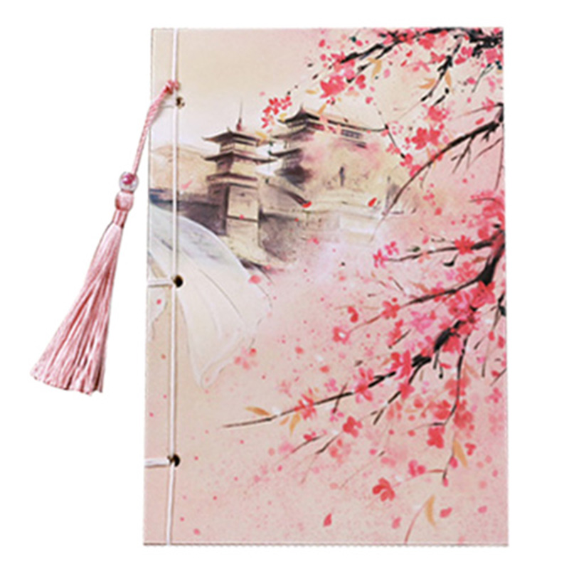 Handcrafted 208x104mm Chinese style tassel notepad vintage diary color page classical notebook stationery Gift Red read noble style page 5