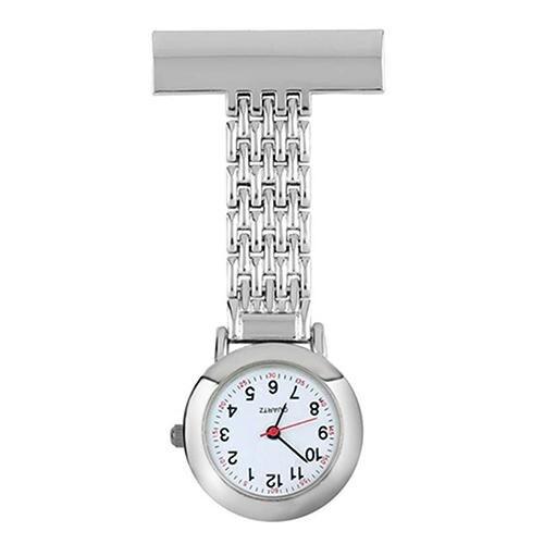 Good Life Stainless Steel Arabic Numeral Quartz Brooch Doctor Hanging Round Analog Nurse Pocket Watch