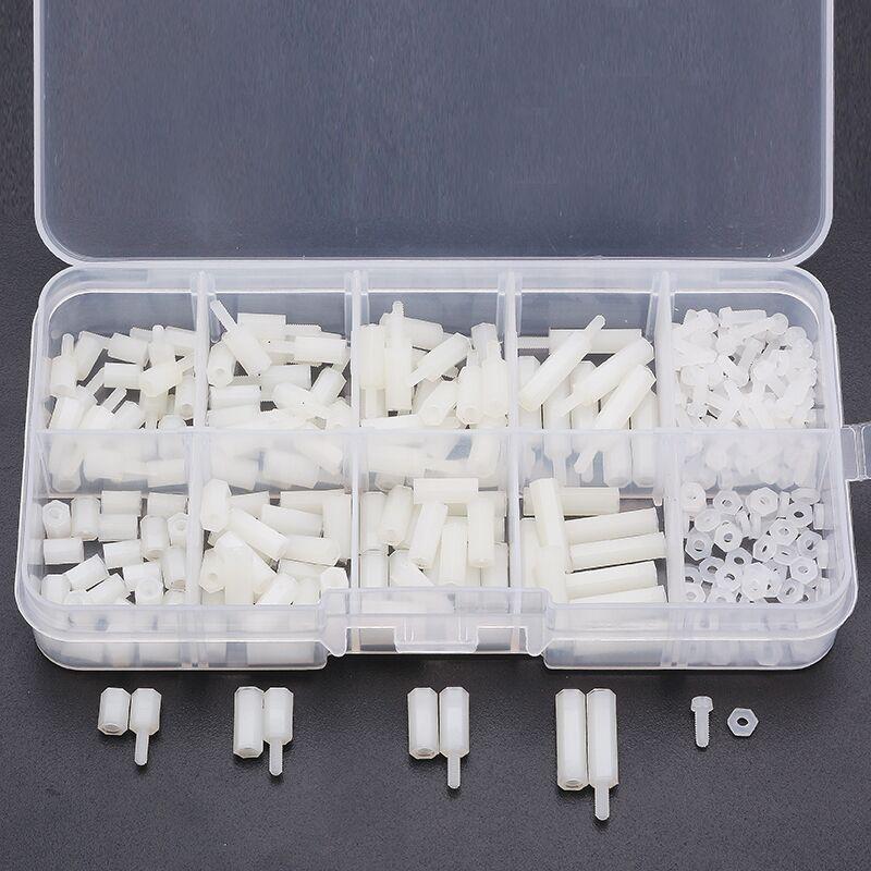 цена на Suleve 300pcs M2 Nylon Screw White Hex Screw Nut Nylon PCB Standoff Assortment Kit New