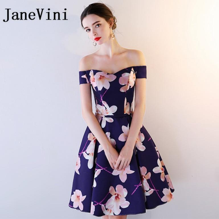 JaneVini 2018 Short   Bridesmaid     Dresses   for Weddings Floral Print Satin Lace-up Back Knee-Length Plus Size Wedding Guest   Dresses