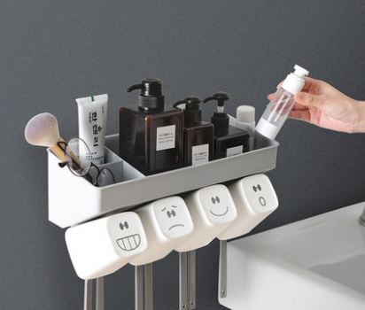 Creative Bathroom Wall-mounted Toothbrush Holder Toothpaste Toothbrush Rack Toothbrush Hanging Cup Toothbrush Cup Set Q111