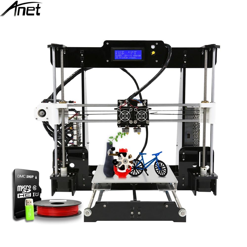 цена на Anet A8M 3D Printer Kit Dual Print nozzle Easy Assemble Large Build Size DIY Desktop Multi-color FilamentPrint size 220*220*240