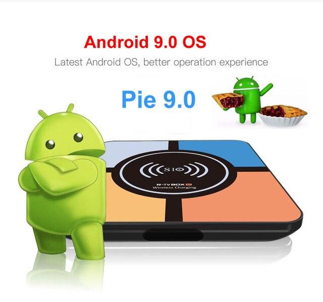 S10 плюс Android 9,0 Smart ТВ коробка Беспроводной быстрой зарядки RK3328 Quad core 4 Гб 64 GB Wi-Fi 4 K H.265 USB3.0 Smart ТВ телеприставке 1