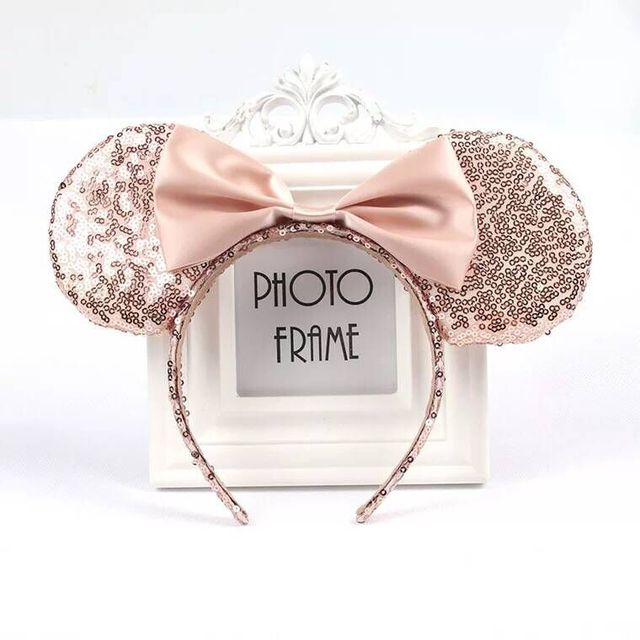 New Rose Gold hair Sequins Mickey Mouse Ears solid black headband boy birthday party celebration