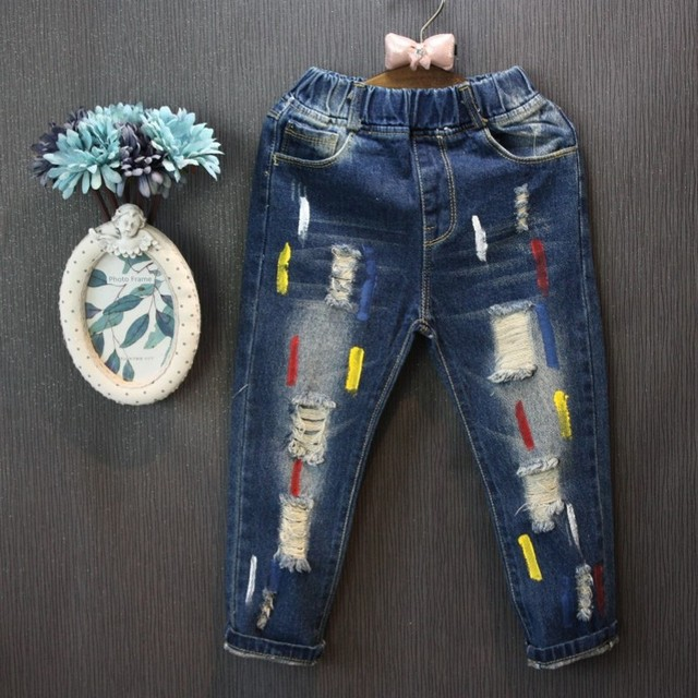 Wholesale (5 Copies / LOTS) - Children's Pants 2017 Fall New Boy European and American fashion holes painted denim trousers
