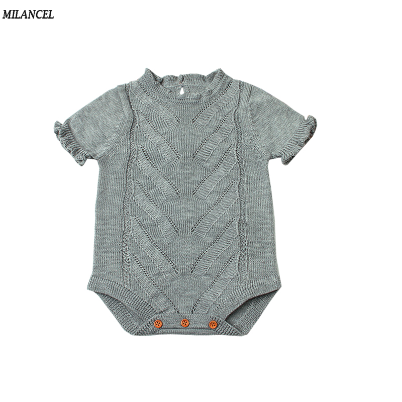 MILANCEL 2018 Baby Bodysuits Knitted Baby Girls Clothing Summer Boys Clothes Short Sleeve Baby Girls Bodysuits Baby Clothing