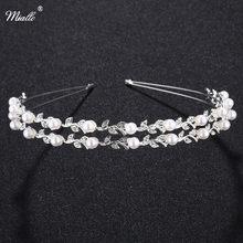 Miallo moda noiva coroa folha forma strass casamento bandana marfim branco pérola casamento headpiece rim para o cabelo