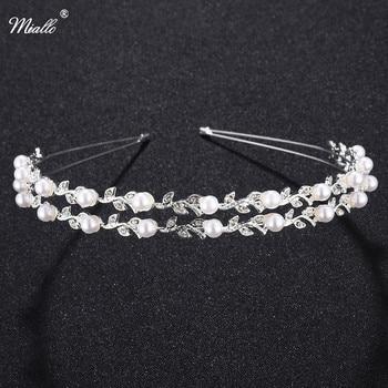 Miallo Fashion Bride Crown Leaves  Pearl  Tiaras Rhinestone Headband  Wedding Headpiece Hair Accessories Party Jewelry Head
