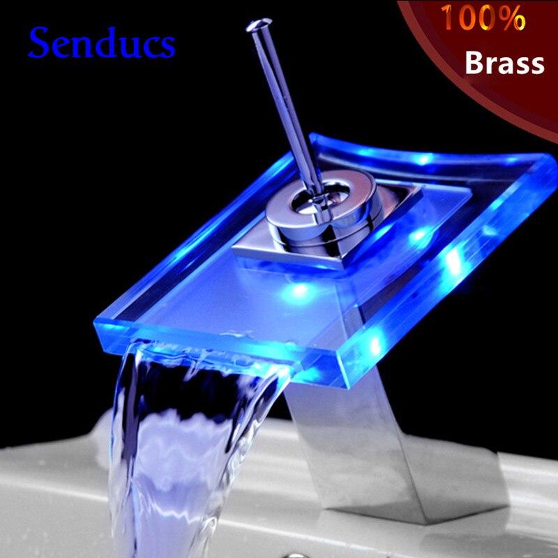 Livraison gratuite bonne qualité LED robinet de cascade avec pont monté LED en verre cascade facuet par robinets de lavabo en laiton massif