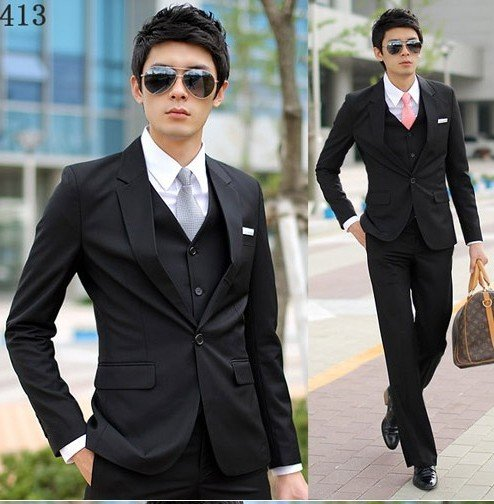 One On Wedding Suit Bussiness Men Black Free Shipping