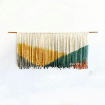 Bohemian Macrame Hand-knit Wall Hanging Tapestry Craft Coffee Shop Wall Art Backdrop Living Room Sofa Background Home