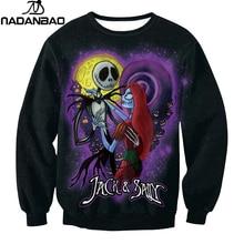 NADANBAO Brand The Nightmare Before Christmas Hoodies Sweatshirt Halloween Dark Sugar Jack Skellington Printed Women Clothing