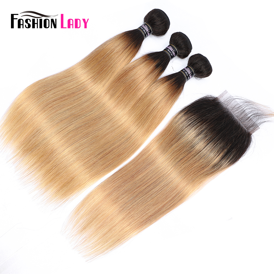FASHION LADY Pre Colored Ombre Human Hair Malaysian Hair Bundles With Closure Straight 1B 27 Bundles