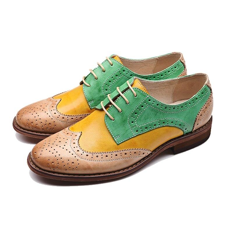 Oxfords Heels Green Schaffell Vintage Für Red Yellow Blue Brogues Echtem 2018 Gray Handmade Leder Schuhe Frauen Xiuningyan Wohnung brown Freizeitschuhe pink yellow Zzy0Tqyc