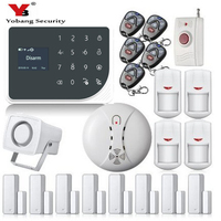 YoBang Security 433MHZ WIFI GSM Alarm System Touch Screen IOS Android APP Home Burglar Alarm System Smoke Fire Sensor Russian .