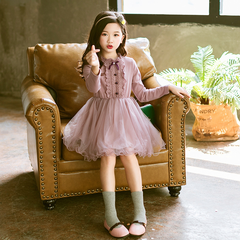 Girls Princess Dress 2018 new kids Long sleeve lace Retro Design for Girls Party Dress Clothes child costume 3 5 6 8 10 12 Years big girls dress spring floral printed girls party princess dress long sleeve kids clothes for girls 6 8 10 12 year girl dress