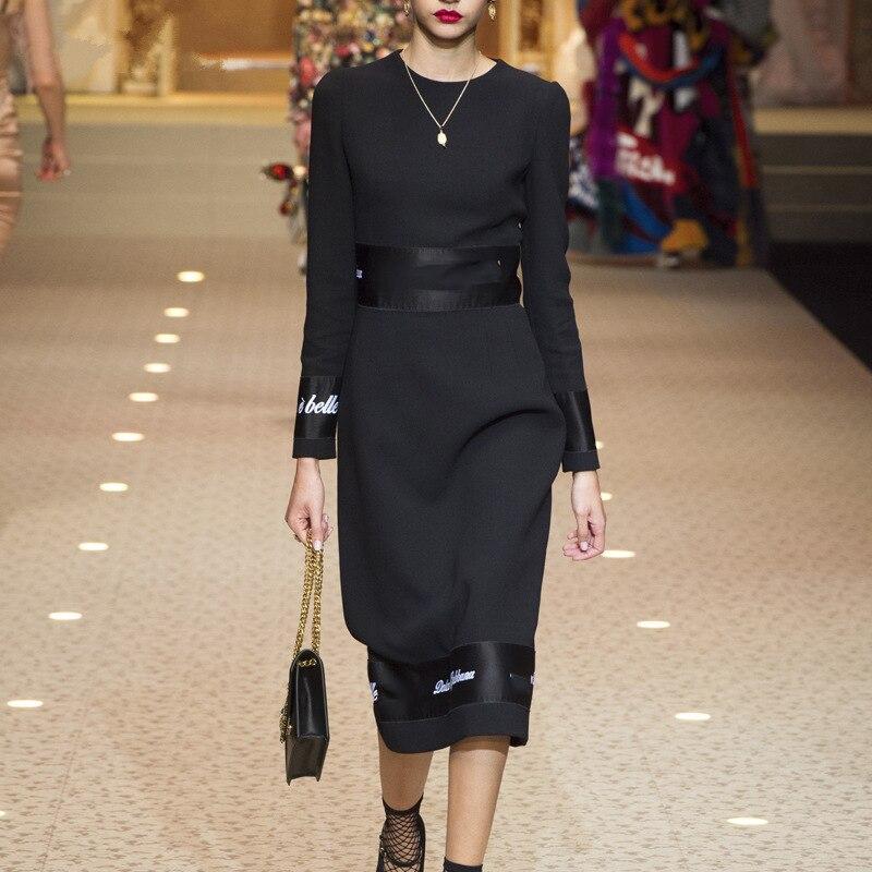 2019 été Vintage noir à manches longues lettre broderie mince élégant robe de soirée moulante crayon droite robe Vestido