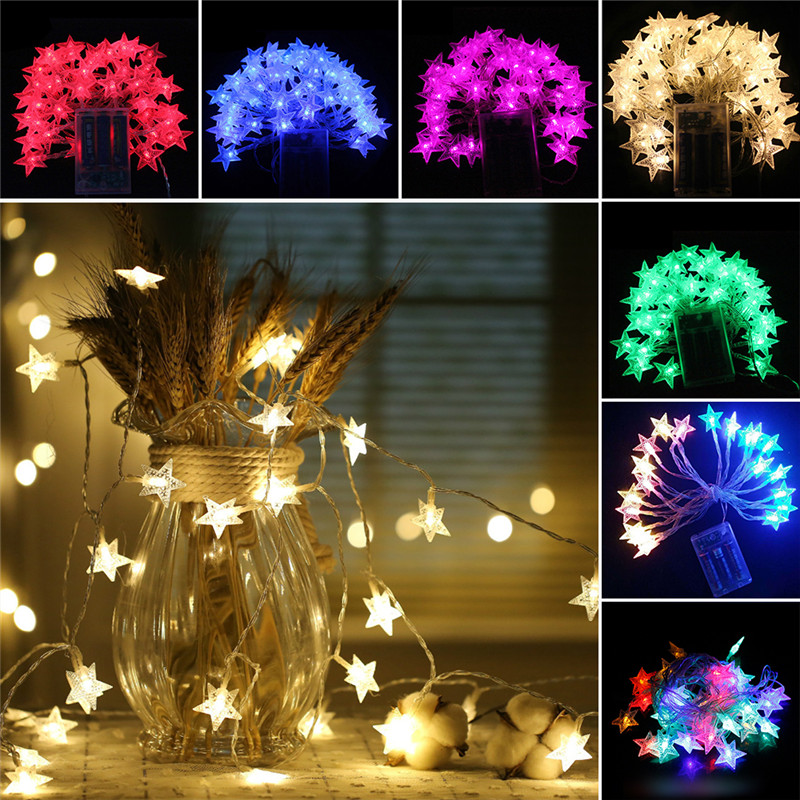 3.0m 20-LED LED Star Copper Wire String Lights LED Fairy Lights Christmas Wedding decoration Light Battery Operate twinkle light
