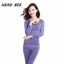 [HEAD BEE] Lace Underwear Sexy Ladies Clothes Winter Seamless Antibacterial Warm Intimates Print Long Johns Women Shaped Sets(China)