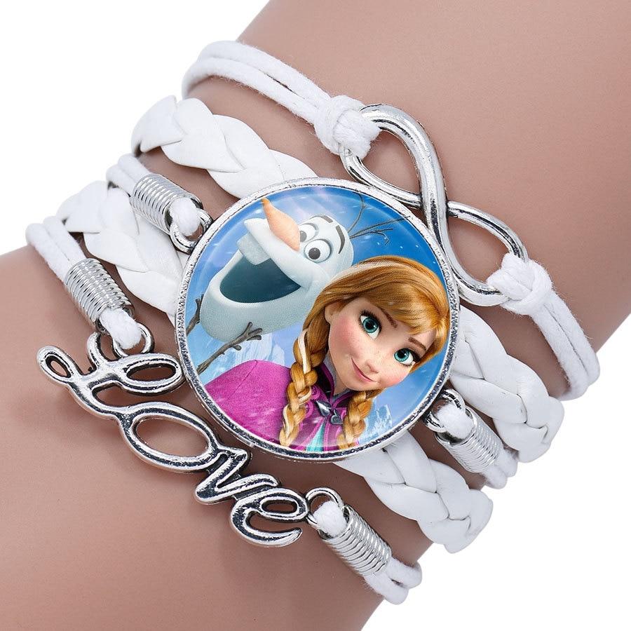 Детский Браслет Принцессы Диснея с героями мультфильма «Холодное сердце», Эльза, прекрасный подарок для девочек, аксессуары для одежды, детский браслет, украшения для макияжа - Цвет: 12
