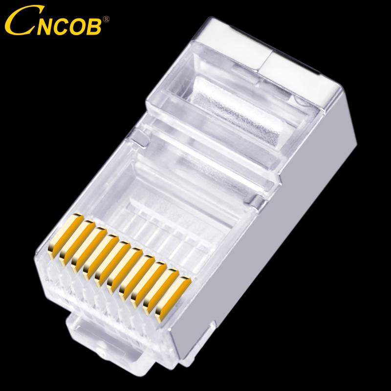CNCOB RJ45 Connectors Shielded 8P8C 100PCS Network Plug for Cat5 Cat5e Stranded Cable FTP