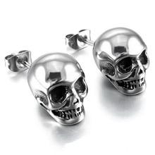 Hot Punk Skull Earrings for Men Boys Cool Silver Jewelry Hip hop Stud Earrings Vintage Rock