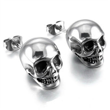 Hot Punk Skull Earrings for Men Boys Cool Silver Jewelry Hip-hop Stud Earrings Vintage Rock Skeleton Earrings