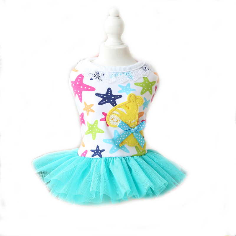 Cartoon Stars Trojan Horse Lace Dresses Girls Clothes for Dogs Cat Wear Products for Pets Yorkie Chihuahua 2 colors