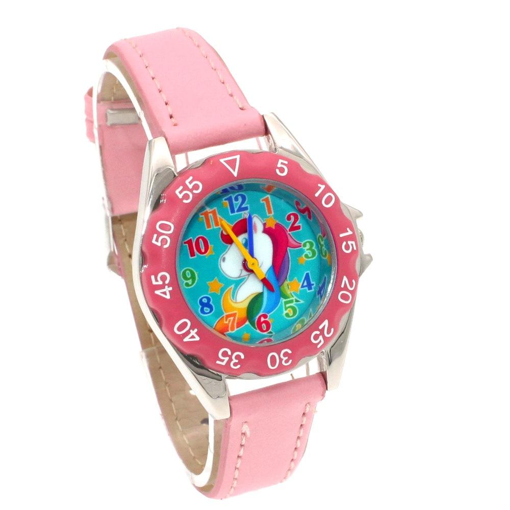 Cute Unicorn Ladies Watch For Kids Girls Boy Light Blue Leather Wristwatch Casual Dress Fashion Children Learn Time Watch U85b Watches