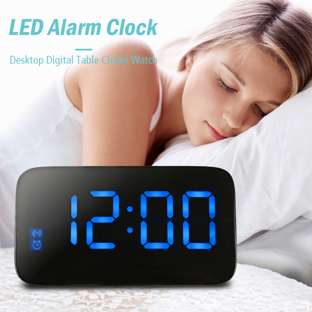 LED Alarm Clock Large LED Display Voice Control Electronic Snooze Backlight Desktop Digital Table Clocks Watch With USB Cable