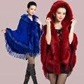 2016 nuevo otoño invierno caliente suave lana de cachemira de piel de zorro Poncho del mantón de Pashmina mujeres Faux prendas de vestir exteriores de la borla con capucha capa del cabo