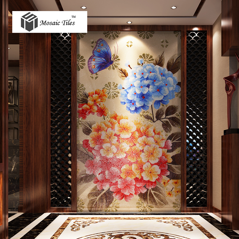 tst unique bisazza design home interior wall deco mosaic hotel hall spring nature scene butterfly flower parquet glass mosaic on aliexpresscom alibaba