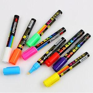 Image 3 - 8 اللون 6 مللي متر قابل للمسح المائل قلم تحديد مجموعة السائل الطباشير الفلورسنت النيون LED زجاج النافذة أقلام الطلاء السبورة ماركر
