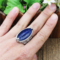 Нерегулярные лазурит кольца цветок группа Натуральный камень Античная Посеребренная Модные украшения TR664