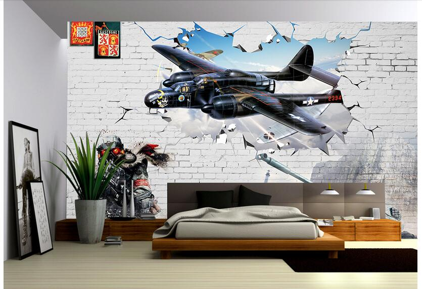 US $16.26 47% OFFCustom photo 3d wallpaper Non woven mural picture 3 d  Vintage fighter painting 3d wall room murals wallpaper landscape-in  Wallpapers