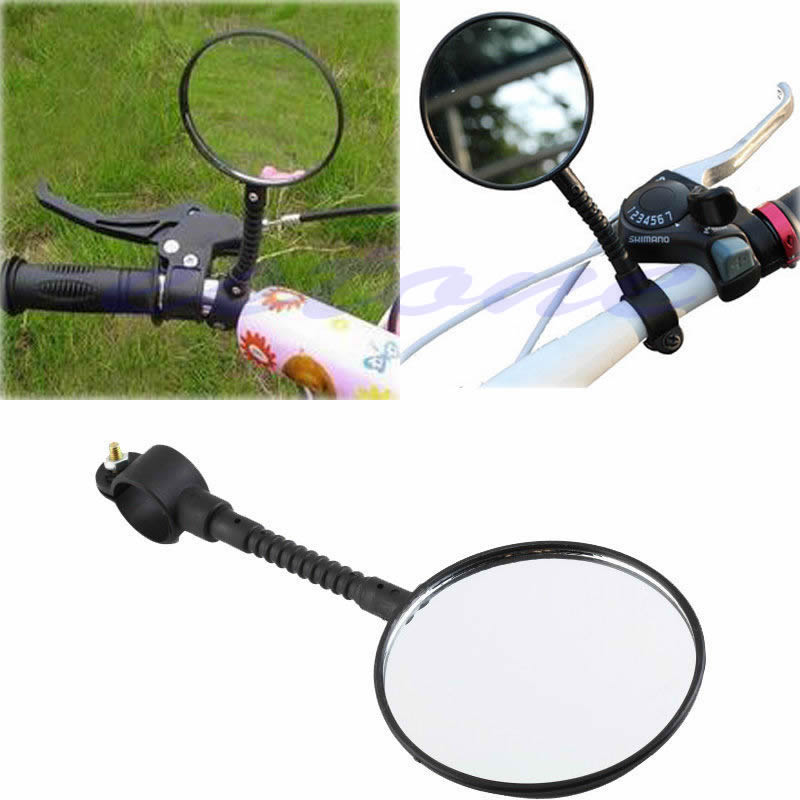 1pc Bike Mirrors Bicycle Handlebar Flexible Rear Back View Rearview Mirror Black oumily universal flexible bicycle rearview mirror w mount bike rubber handlebar black pair