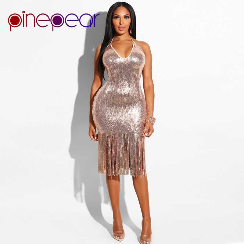 2cf62011285 PinePear блестящее Золотое блестящее вечернее платье 2019 зимнее женское  модное платье с кисточками на бретелях с