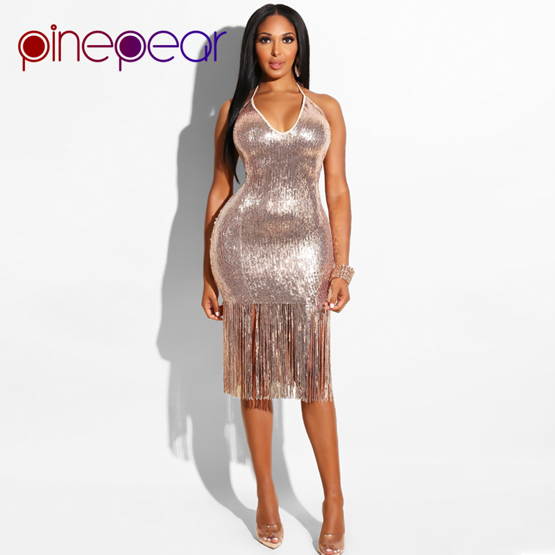 fe7cb53ce47 US $20.79 20% OFF PinePear Glitter Gold Sequin Evening Party Dress 2019  Winter Women Trendy Tassel Dress Halter Backless Sexy Club Dress  Wholesale-in ...
