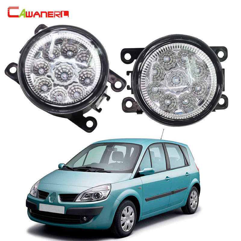 Cawanerl Car Styling LED Lamp Fog Light Daytime Running Light DRL 12V DC 2 Pieces For Renault Scenic 2/II JM0 JM1 MPV 2003-2009 cawanerl 2 x car led fog light drl daytime running lamp accessories for nissan note e11 mpv 2006