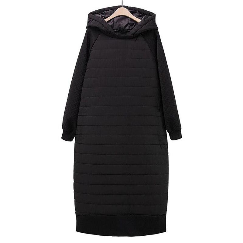 Plus Size Thick Black Wadded Autumn Winter Jackets Women Cotton Padded Long Coat Outwear Warm Loose Oversized   Parka   Femininos