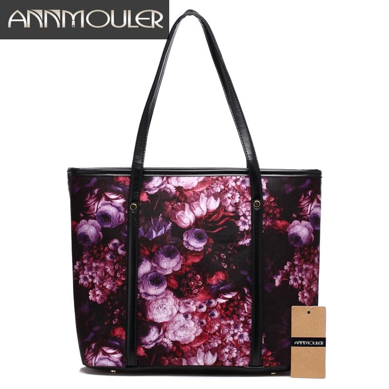 fa059f6edb28 Annmouler New Fashion Women Shoulder Bag 4 Colors Large Capacity Handbags  Floral Print Casual Tote Bags