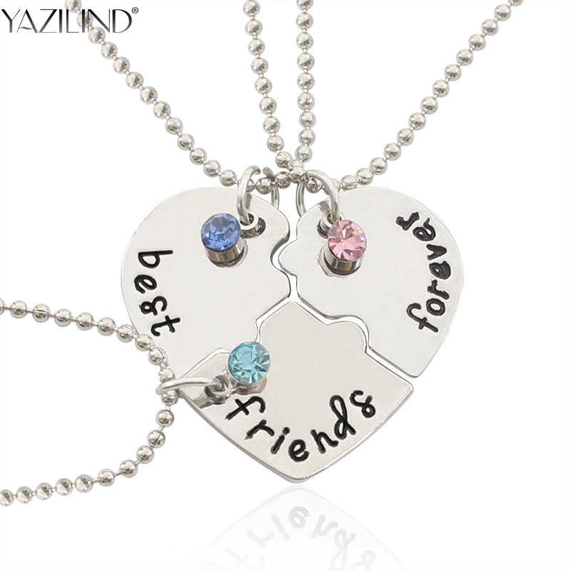 f9fd3dca70099 YAZILIND Best Friend Forever Necklace Heart Broken Style 3 Pieces Puzzle  Pendant Necklace Gift for Girl Friendship