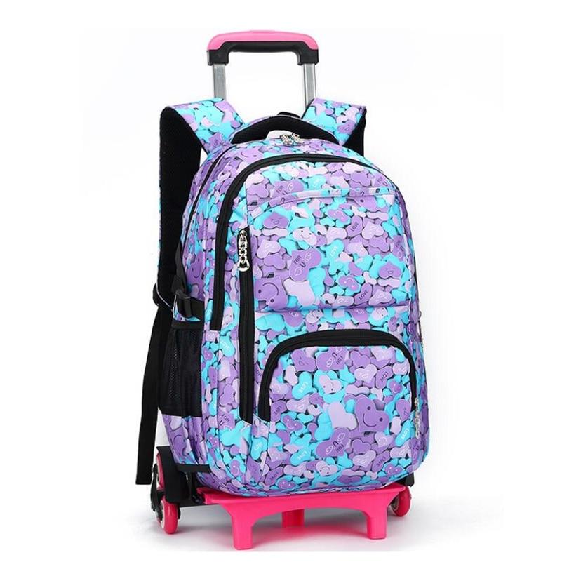 Odpinany dla dzieci torba szkolna na kółkach wózek dziecięcy torba toczenia plecak szkolny dla dziewczynek podstawowym tornister plecaki dla dzieci w Torby szkolne od Bagaże i torby na  Grupa 1