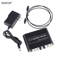 DOITOP Dolby Dts/ac 3 Optical To 5.1 Channel RCA Analog Converter Stereo DAC Digital 5.1 Audio Gear Decoder Sound Spdif Decoder