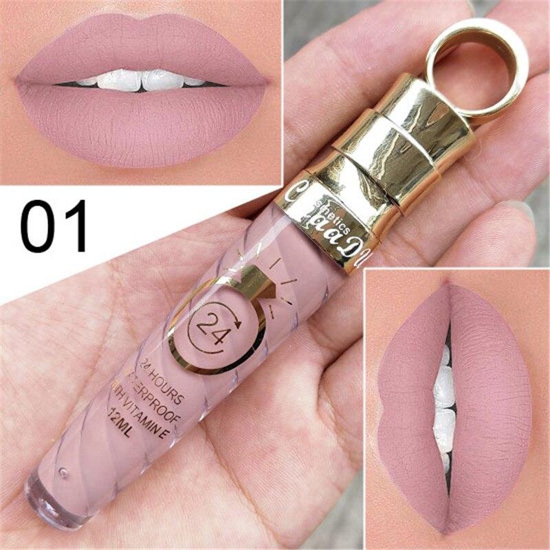 Novo!! compõem Lábios Fosco Batom Líquido À Prova D' Água de Longa Duração Sexy Pigmento Nu Estilo Glitter Lip Gloss Beauty Red Lip Tint